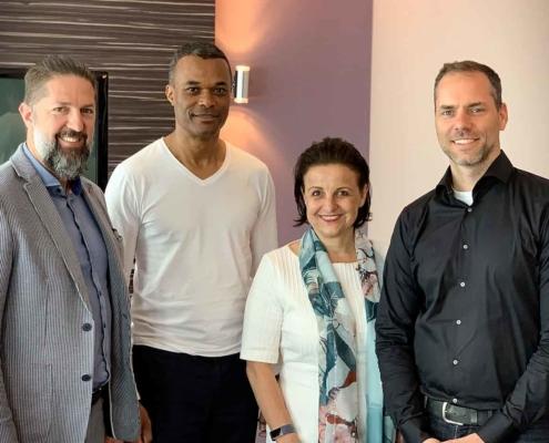 Der neue Vorstand des Deutschen Managerverbandes: v.l.n.r. Ronald Hanisch, Ray Popoola, Nicole M. Pfeffer und Hendrik Habermann